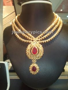 Three string uncut necklace with centre ruby - Latest Jewellery Designs