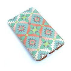 Leather Samsung Galaxy S2 / S3 / Note case - Aztec in Mint and Coral Pink. $45.00, via Etsy.