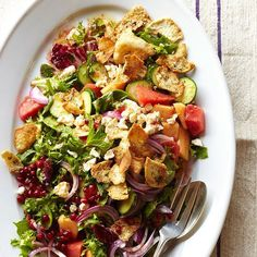 nice Melon and Herb Bread Salad