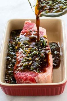 This easy steak marinade recipe is the BEST and it will quickly add tons of flavor to any cut of beef! The mixture is a blend of soy sauce Worcestershire sauce onion garlic honey olive oil and fresh herbs. Steak Marinade Recipes, Grilled Steak Recipes, Best Marinade For Steak, Easy Steak Recipes, Marinades For Steak, Steak Marinade Soy Sauce, Beef Tenderloin Marinade, Flat Iron Steak Marinade, Strip Steak Marinade