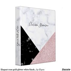 Shop Elegant rose gold glitter white black marble 3 ring binder created by Elipsa. Cute Binder Covers, Norman, Solar System Crafts, Black Marble, Gold Marble, School Auction, Back To School Supplies, Binder Design, Custom Binders