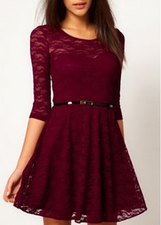 Deep Red Half Sleeve Lace A Line Dress