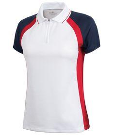 Charles River Apparel Style 2426 Women's Trinity Zip Polo - SweatshirtStation.com #tricolorpolo #whitepolo #womenspolo