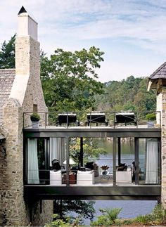 Breezeway between garage and house! lake house with stone exterior and glass skyway Future House, My House, Farmhouse Architecture, Architecture Design, Organic Architecture, Architecture Board, Classic Architecture, Amazing Architecture, Contemporary Architecture