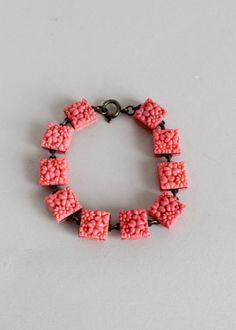 Lovely 1930s Coral Pink Celluloid Link Bracelet. #vintage #jewelry #accessories #bracelets #1930s