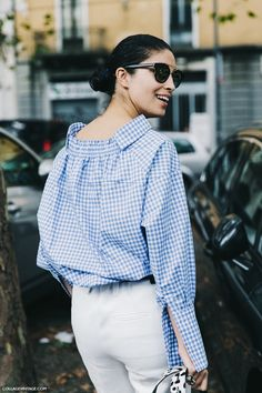 Caroline Issa | blue & white check shirt