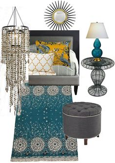 Love the colors!!   Knight Moves: Peacock and Butternut Bedroom Mood Board