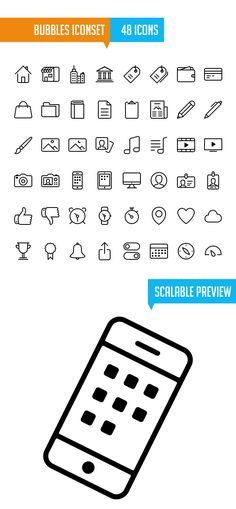 Bubbles Iconset for iOS7 (48 Icons) #freeicons #vectoricons #strokeicons #lineicons #psdicons