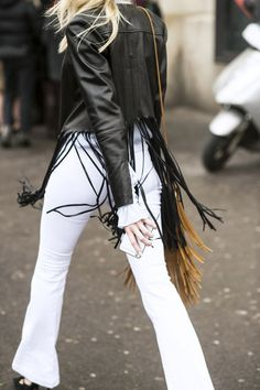 The Inspiring Street Style Looks To Try Now | The Zoe Report Want a short leather jacket, such as this one, with some fringe that does not overpower, like this one!