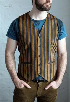 Mens vintage brown striped waistcoat rockabilly 1970s 80s But in black and grey