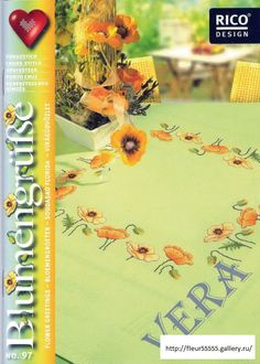 Julies Cross Stitch Flower Greetings - - Flower Greetings - - Pattern OnlyRico DesignsFabric Recommendations (Sold Separately): Yellow Tablecloth White Tablecloth Light Blue Floral Tablecloth NOTE: Special Order Item - Please allow weeks for shipment. Yellow Tablecloth, Cross Stitch Magazines, Rico Design, Cross Stitch Flowers, Fabric Patterns, Needlepoint, Needlework, Diy And Crafts, Embroidery