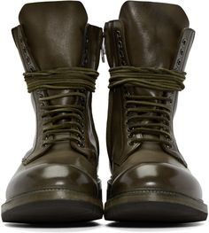 Rick Owens Green Leather Lace-Up Army Boots