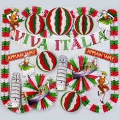 Italian Party Decorations                                                                                                                                                                                 More Italian Themed Parties, Italian Party Themes, Italy Party Theme, Italian Party Decorations, Italian Night, Anniversary Decorations, Italian Christmas, Thinking Day, Pizza Party