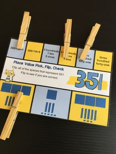 Place Value Flip Cards for 3 digit numbers - use clothespins to pick, flip and check. Fun Math, Math Games, Place Value Centers, Daily 3 Math, Teaching Place Values, Math Workshop, Workshop Ideas, School Places, Tens And Ones