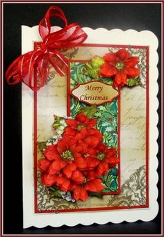 Latest Upload - Christmas Poinsettias Filigree Corner Card
