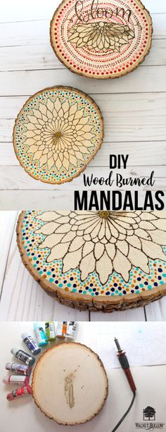 Hello everyone, It's Katie here and I have a fun DIY to share with you inspired by Mandalas, Wood Burning and Pointillism! I combined those 3 different art forms onto a Basswood round …