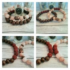 Acai berry fruit seeds & Jade essential oil diffuser bracelet set. Makes a perfect gift for the person who has everything!