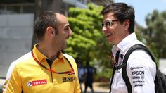 Cyril Abiteboul (FRA) Renault Sport and Toto Wolff (AUT) Mercedes AMG F1 Director of Motorsport at Formula One World Championship, Rd2, Malaysian Grand Prix, Qualifying, Sepang, Malaysia, Saturday 28 March 2015. © Sutton Motorsport Images