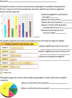 BEL CARDOZO: Atividades com Gráficos (5º ano) Galaxy Wallpaper, Study Tips, Professor, Periodic Table, Math, Amanda, Map Activities, Math Olympiad, Charts And Graphs