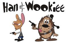star wars, han solo, chewbacca, ren and stimpy