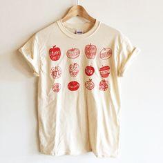 Screen Printed T Shirt Apple Varieties by andMorgan on Etsy