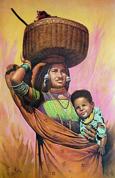 Mother and Child (Reprint on Paper - Unframed) India Painting, Art Painting Gallery, Painting Tips, Art Gallery, Indian Artwork, Indian Art Paintings, Indian Women Painting, Indian Artist, Mother And Child Painting