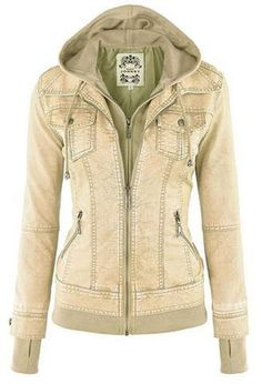 Faux Twinset Pocket Woman Jacket with Removable Hat on
