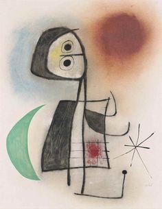Joan Miró, Femme devant la lune, 1953.                                                     Gouache, pastel and ink on paper.