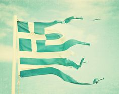 Greece Flag, Travel Photography, Home Decor, Shabby White and Green, Fine Art, Europe via Etsy