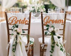 Wedding Chair Signs, Bride and Groom Chair Signs, wedding table decoration, wedding chair decoration, bride groom signs for wedding chair Wedding Chair Signs, Wedding Chairs, Wedding Tables, Wedding Reception, Cheap Wedding Decorations, Table Decorations, Reception Decorations, Wedding Centerpieces, Wedding Venue Inspiration