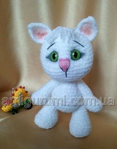 Rinna: Kocourek v modrých kalhotách Crochet Russe, Handmade Toys, Crochet Toys, Dinosaur Stuffed Animal, Dolls, Google, Amigurumi, Kitty, Felting