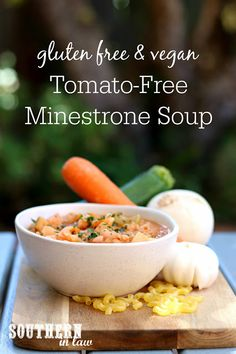 Can't eat tomatoes? Don't worry, this Easy Tomato Free Minestrone Soup Recipe is gluten free, vegan, clean eating friendly, healthy and made without tomatoes so everyone can enjoy! Healthy Meat Recipes, Healthy Meals For Kids, Healthy Soup, Healthy Foods To Eat, Clean Eating Recipes, Kids Meals, Soup Recipes, Vegan Recipes, Healthy Eating