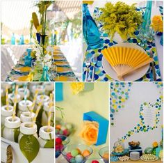 A polka dot inspired little boy baby shower! Bold placemats, tons of tinted glass vases filled with flowers & refreshing food & drinks. Tablescapes can still be fun yet elegant at the same time. A dessert table has a way of just standing out on its own when you use a unique backdrop!