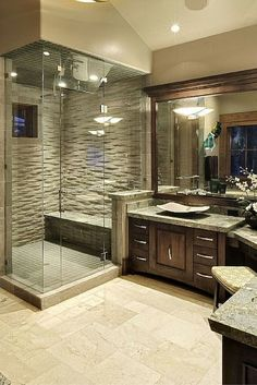 Like the idea of the half wall for shampoo storage that is out of sight.