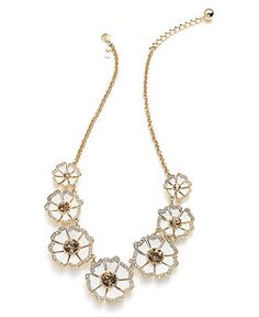 Kate Spade new york Necklace, 12k Gold-Plated White Enamel Floral Frontal Necklace $148.00