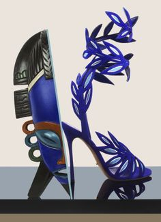 Sergio Rossi, shoe, heel, sandal, leaves, tribal, masks, Ilan Rubin, photography, editorial, accessories, marie claire, blue, shoes, kyle anderson,