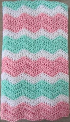 Chevron  Zig Zag  Ripple Baby Blanket  Afghan in by heyjude6459, $35.00  Love Mint and Pink if we have a girl