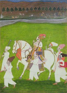 UEA 576 Raja Viram Dev of Ghanero out riding with attendants 1770, by the Bikaner artist Shihab al-din India, Rajasthan, Jodhpur School Acquired 1974