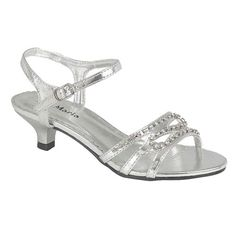SILVER LOW HEEL WEDDING BRIDESMAID PARTY BRIDAL LADIES SANDALS