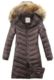 New Arrival Moncler Women Long Down Jackets Big Fur Hood Coffee Parkas 2013 Winter Style Note