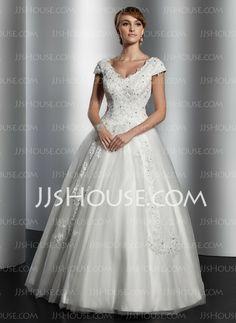 Wedding Dresses - $236.99 - A-Line/Princess V-neck Floor-Length Satin Tulle Wedding Dress With Lace Sequins (002014820) http://jjshouse.com/A-Line-Princess-V-Neck-Floor-Length-Satin-Tulle-Wedding-Dress-With-Lace-Sequins-002014820-g14820