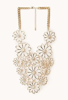 Striking Cutout Floral Bib Necklace   FOREVER21 - 1000072641
