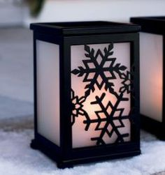 change-o-luminary winter Christmas candle holder with changeable magnetic panels - snowflakes