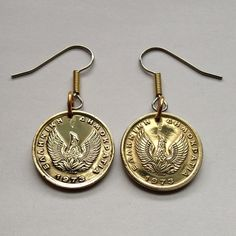 a pair of 1973 Greece 50 Lepta coin earrings phoenix Greek mythology Phoenix Eagle bird symbol symbolic earring coin jewelry No.E000009 by acnyCOINJEWELRY on Etsy
