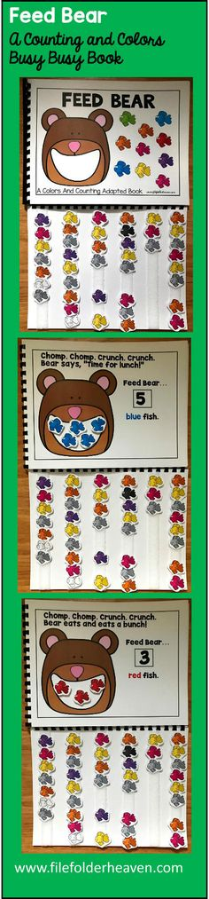 """This Feed Bears Colors and Counting Adapted Book is an adapted book that focuses on colors and counting in a fun and interactive way. In a small group, independent center or independent work station. A teacher or student reads through the book and feeds the animal or critter, the correct number and color the food on each page. Sample text: """"Chomp. Chomp. Crunch. Crunch. Bear says, """"Time for Lunch!"""" Feed Bear 5 blue fish. Chomp. Chomp. Crunch. Crunch. Bear eats and eats a bunch! Feed Bear"""