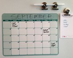 """""""All roads to supreme organization begin with this calendar."""" –Richard Creative  8.75 x 11.25"""" magnetic dry erase vinyl, ships with one fine point black dry erase pen  Magnetic Dry Erase Calendar & Pen Letter sized by RichardCreative, $18.95"""