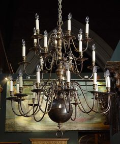Very large pair Antique Flemish Dutch BRASS CHANDELIERS.