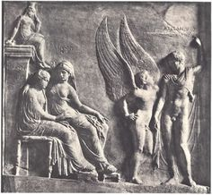 """Helen Relief. Naples Museo Archeologico inv. 6682. Neo-Attic relief sculpture, first-cent. CE. (Roman date, though showing influences of earlier, Athenian sculpture.) Figures labeled in Greek. Pictured are, from left to right, Peitho (""""Persuasion,"""" spelled here """"Pitho,"""" sitting atop a pillar), Helen, Aphrodite, Eros (""""Desire,"""" = Greek Cupid), and Alexandros, better known as Paris."""