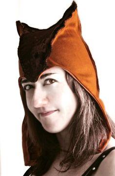 Ready to ship - STEAMHAT - unisex steampunk hat  hood elf elves larp fantasy renaissance gnome geek brown orange