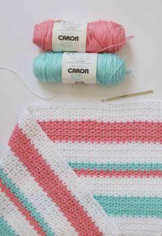 Crochet Baby Blanket Crochet Striped V-Stitch Blanket Pattern - Crochet Baby Blanket Free Pattern, Crochet For Beginners Blanket, Afghan Crochet Patterns, Crochet Stitches, Free Crochet, Knitting Patterns, Unique Crochet, Easy Crochet, Crochet Daisy